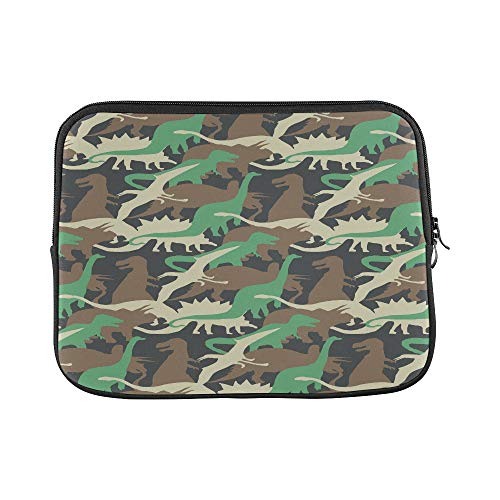 Design Custom Camouflage Pattern of Dinosaur Illustration Tee S Sleeve Soft Laptop Case Bag Pouch Skin for MacBook Air 11