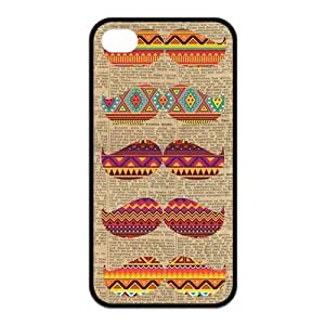 Custom Aztec Mustache Durable Back Cover Case for iPhone 4 4s