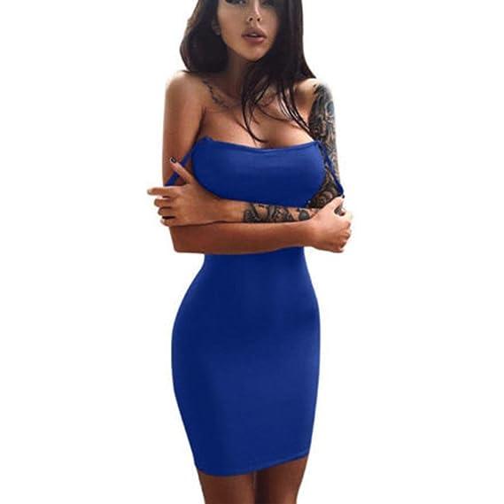 Blusas para Mujer Rawdah Falda Sin Mangas para Mujer Mini Vestido SóLido Ocasional Blusa De Hombros