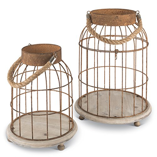 Lone Elm 94114 Metal Open Top Bird Cage (Set of 2), 11.8″ x 11.8″ x 15.75″