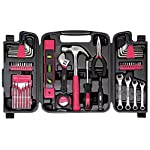 Apollo Tools 53 Piece Household Tool Set with Wrenches, Precision Screwdriver Set and Most Reached for Hand Tools in Storage Case Pink Ribbon DT9408P