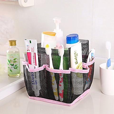 Corner Biz Bath - Cosmetic Bag Storage Pouch Handle Home Travel Organizer Net Gauze Bag (Pink) (Alsons Hand Shower Parts)