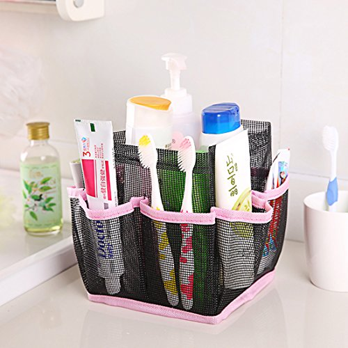 Corner Biz Bath - Cosmetic Bag Storage Pouch Handle Home Travel Organizer Net Gauze Bag (Pink)