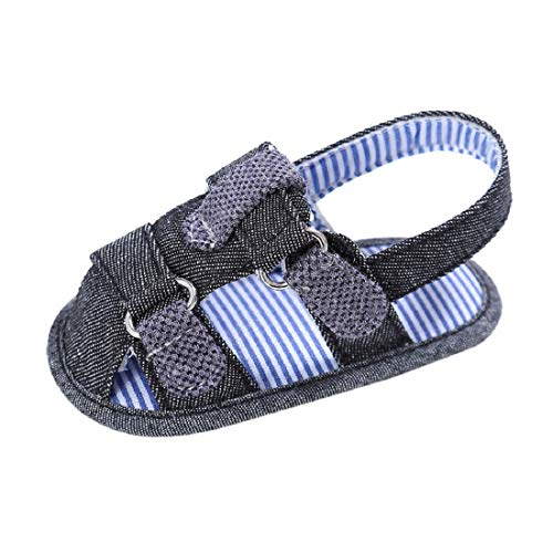 Baby Sandals FAPIZI Canvas Boys Cute Crib Shoes T-Tied Soft Prewalker Soft Bottom Toddler Shoes Dark Blue