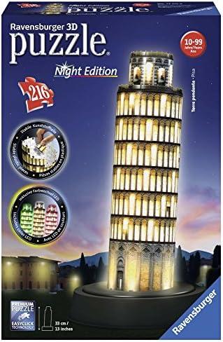 Ravensburger 3D Puzzle 12515 - Schiefer Turm von Pisa bei Nacht - 216 Teile