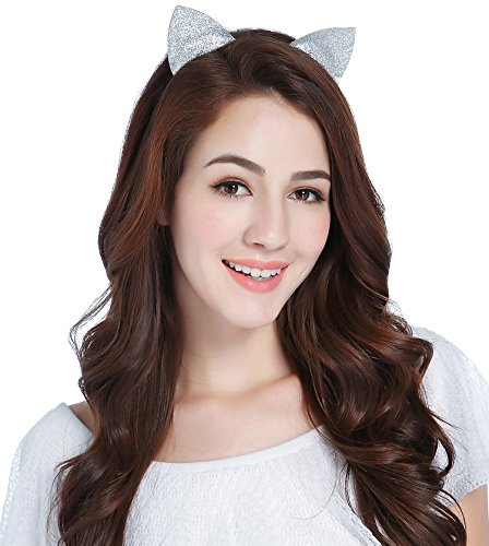 CAKYE Glitter Cat Ear Headband Party Hair Band Gift (One Size, Silvery (Cat Ears))