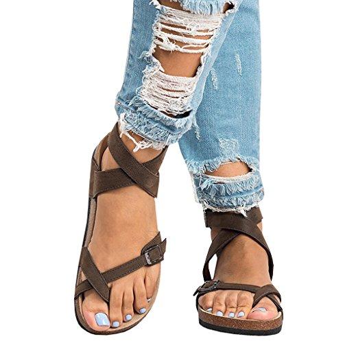 Donna Eleganti Scarpe retr Minetom Spiaggia Casual Moda Sandali Bassi Estate Estiva Boemia Toe Shoes Fibbia da Peep Piatte fqwdZ6qr