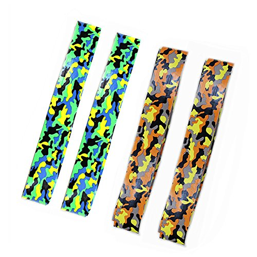 MFEI 4 pcs Tennis Overgrip Tapes, Hand Print Overgrip, Absorb Moisture and Anti-slip Overgrip Grips Tape Perfect for Tennis Racket, Racquetball Grip, Squash Racquet (blue & orange)