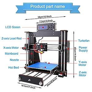 3D Printer I3 High Precision Large Size Desktop 3D Printer Kit Reprap Prusa I3 DIY Self-Assembly LCD Screen PLA/ABS Filament 1.75MM DIY 3D Printer 200x200x180 by New Matter