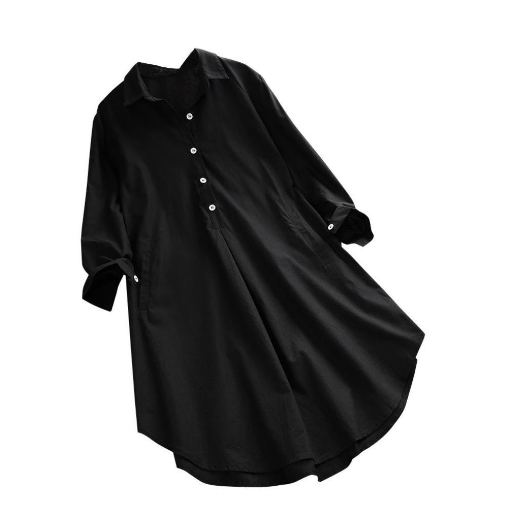 Cloom Hemdkleid Damen Hemdbluse Lange Blusen Damen Longsleeve Damen Weiß Freizeit Lose Bluse Langarmshirt Damen Weiß Top Schwarz T Shirt Lang Shirtkleid Baumwolle Leinen