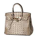 Lalagen Women's Crocodile Embossed Clearance Genuine Leather Top Handle Padlock Purses and Handbags Offwhite 30