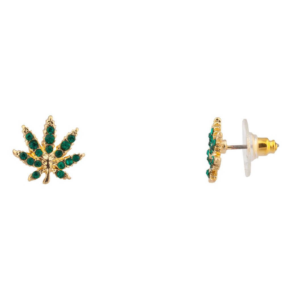 Lux Accessories Delicate Green Pave Marijuana Pot 420 Leaf Stud Earrings