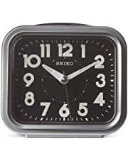 """Seiko 4"""" Traditional Square Bell Alarm With Snooze and Dial Light"""