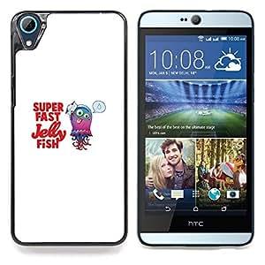 "Qstar Arte & diseño plástico duro Fundas Cover Cubre Hard Case Cover para HTC Desire 826 (Cute Funny Super Fast Fish Jelly"")"