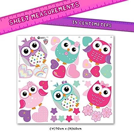 GET STICKING D/ÉCOR/® Mignon Multicolore. Large Vinyle Amovible Brillant ColorfulOwls Owls.3 Hibou// C/œur// /Étoile Stickers Muraux// Autocollants Collection