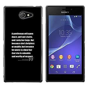 FlareStar Colour Printing Motivational Black Inspiring Text Quote cáscara Funda Case Caso de plástico para Sony Xperia M2 / Xperia M2 Aqua / Sony Xperia M2 Dual