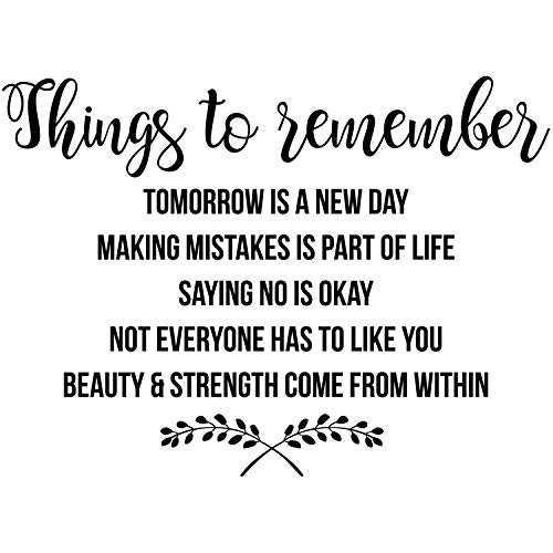 My Vinyl Story Things to Remember Inspirational Wall Decal Motivational Office Decor Quote Inspired Motivated Positive Focused Wall Art Vinyl Wall Decal School Classroom Words and Saying 29x22 in
