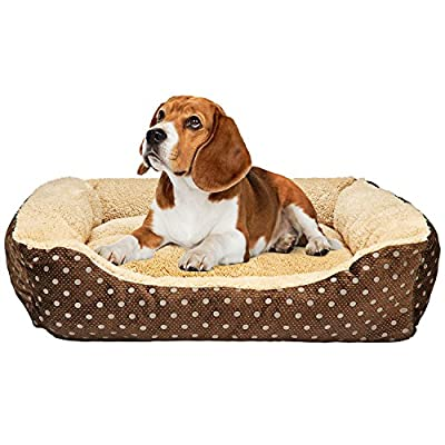 "Animals Favorite Dog Bed, Luxury Embossed Rectangle Bed. Recommended for Bulldogs, Beagles, Schnauzers and More - Medium: 21.3"" x 17.3"""