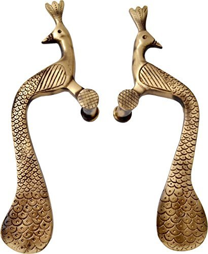Brass Peacock (Two Moustaches Brass Designer Peacock Door Handle Pair (2 Pcs))
