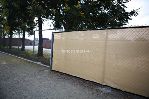 6' X 25' Tan Beige UV Rated 85% Blockage Fence Privacy Screen Windscreen  Shade Cover Fabric Mesh Tarp W/Grommets (145gsm)