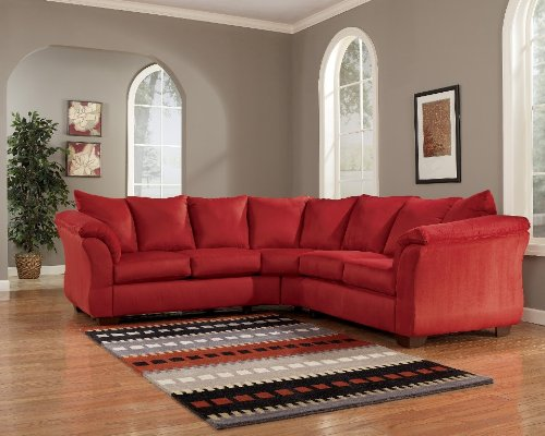 Contemporary Darcy Salsa Collection Fabric Upholstery 2 Pc Loveseat Sectional