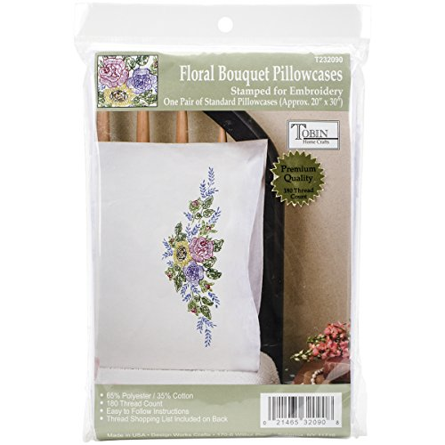 Design Works Crafts Stamped Embroidery Floral Bouquet Pillowcases (Set of 2), 20 by 30""