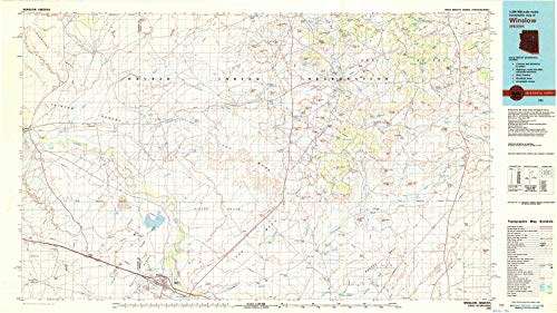 (YellowMaps Winslow AZ topo map, 1:100000 Scale, 30 X 60 Minute, Historical, 1982, Updated 1983, 24 x 42.7 in - Polypropylene)