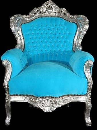 Casa Padrino Barock Sessel King Turkis Silber Thron Tron
