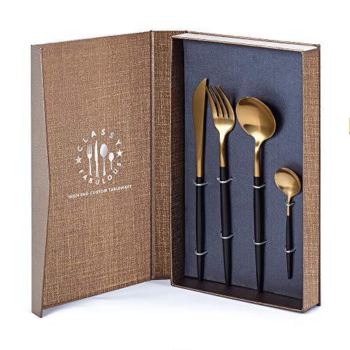 Pretigo 4 Pieces Flatware Cutlery Set, S-Jiang Stainless Steel Silverware Tableware Set, Black Sterling Electroplated Metal Mirror Polished Utensils Dinnerware