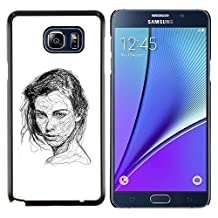 Planetar® ( Girl Black White Pen Sketch Art Drawing ) Samsung Galaxy Note 5 5th N9200 Hard Printing Protective Cover Protector Sleeve Shell Case Cover