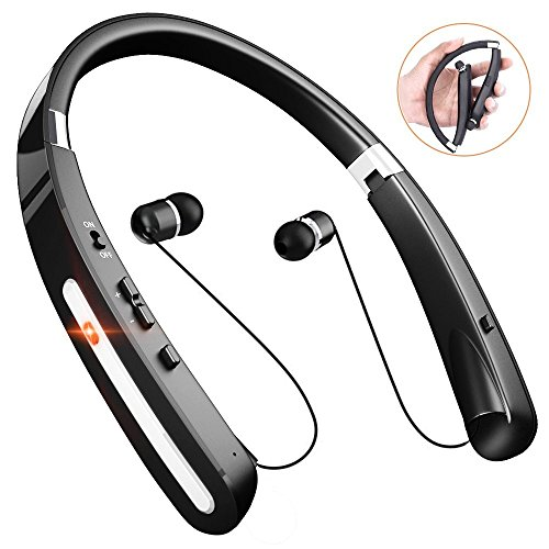 Wireless Bluetooth Headphones, Comsoon Neckband Headset [20 Hours Playtime][Foldable Design] with Retractable Earbuds, Sweatproof Sport Running in Ear Stereo Earphones with Mic (Black) by Comsoon
