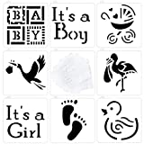 Astra Gourmet Baby Shower Baby Cookie and Cupcake Stencils - Set of 8 - It's a Girl, It's a Boy Baby, Carriage, Footprint, Flamingo, Duck Patterns, Semi-transparent