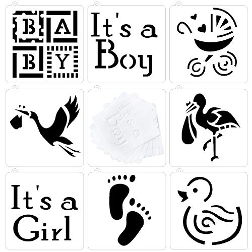 Astra Gourmet Baby Shower Baby Cookie and Cupcake Stencils - Set of 8 - It's a Girl, It's a Boy Baby, Carriage, Footprint, Flamingo, Duck Patterns, Semi-transparent]()