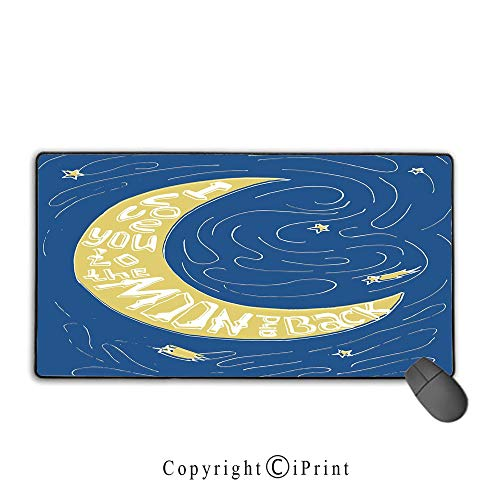 Extended Gaming Mouse pad with Stitched Edges,I Love You,Crescent Moon Maze with Comet Stars Swirls Celebration Birthday Print,Violet Blue Yellow,Premium Textured Fabric, Non-Slip Rubber Base,9.8