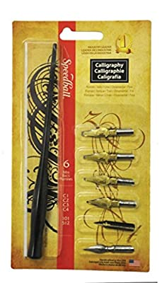 Speedball 6-Nib Calligraphy Lettering Set with Speedball 2-Ounce India Ink Super Black and Speedball 2-Ounce Pen Cleaner