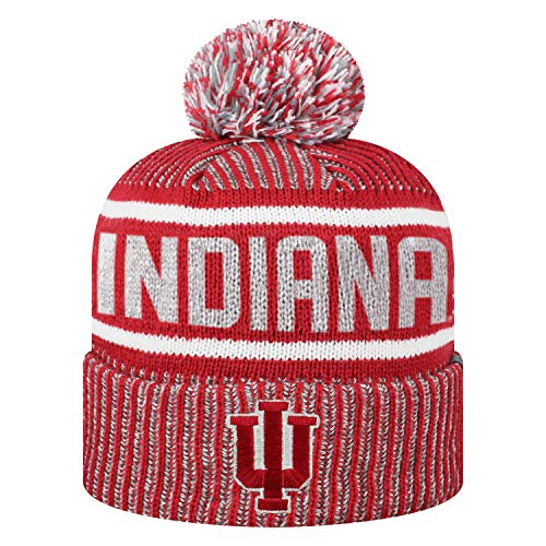 Top of the World Men's NCAA Glacier Cuffed Knit Beanie Pom Hat (Indiana Hoosiers, One Size Fits Most)
