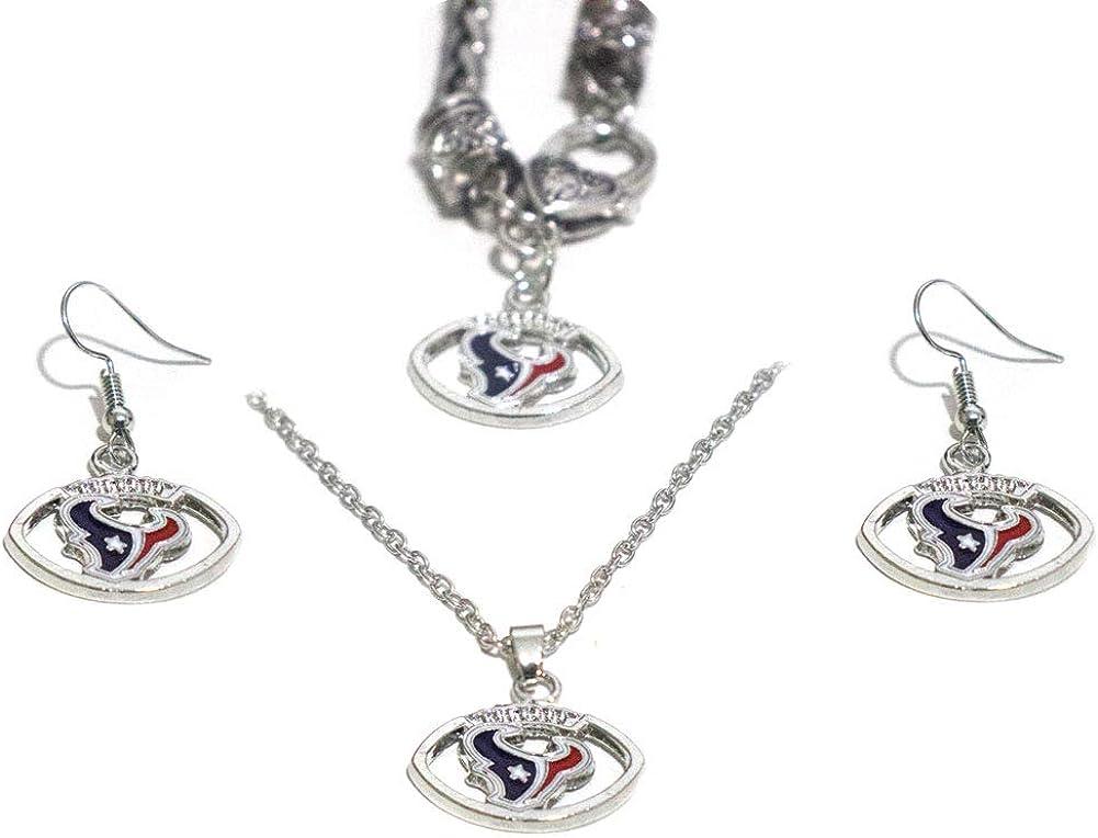 3PCS metal jewelry set (bracelet, earrings, necklace), better gifts, fan attributes (Fit Texans): Clothing