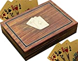 SKAVIJ Playing Card Case or Holders for 2 Deck Wooden Box Indian Handmade Brass Inlay Art for Kids and Adult