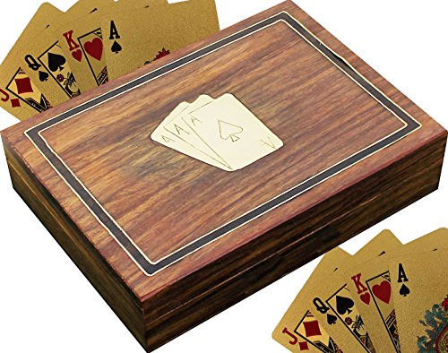 RoyaltyLane Playing Card Case Holders Brown Handmade for 2 Deck of Cards Wooden Box -6 Inch