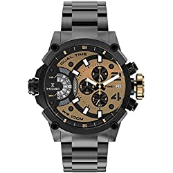 Timecode Albert 1905 TC-1003-07 Black Stainless steel 50mm Men's Watch BLACK dial with LIGHT BROWN accents on a BLACK stainless steel bracelet with Date, Dual time and Chronograph movement(s)