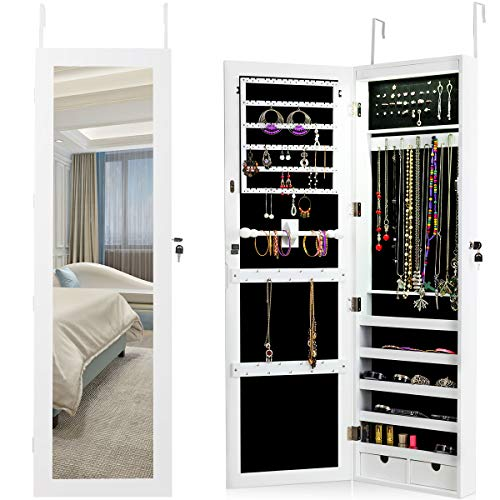 Giantex Wall Mount Jewelry Armoire Cabinet with 15 LED Lights, Lockable Key Large Hanging Cabinets for Jewelry Storage Bedroom 60 Ring Slots 29 Hook 1 Scarf Rod, Jewelry Armoires Box w/2 Drawers,White