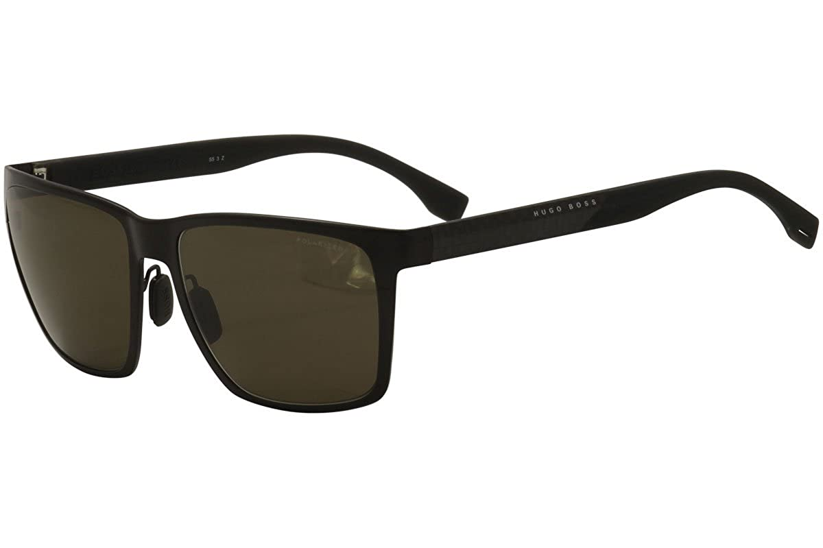 26f090d8e986f Amazon.com  Hugo Boss Mens 0902 F S Polarized Sunglasses Matte Brown  Carbon Bronze One Size  Clothing