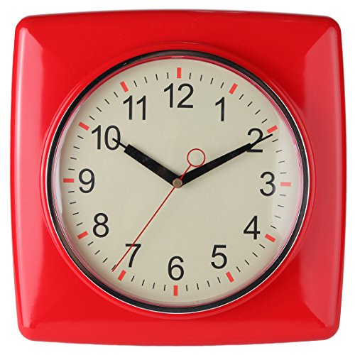 Lily's Home Square Retro Kitchen Wall Clock, Large Dial Quartz Timepiece, Red, 11""