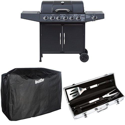 El Fuego Gasgrill, Dayton 6 Plus 1, schwarz, 54 x 133 x 97 cm, AY4601 + Abdeckhaube + Grill-Set