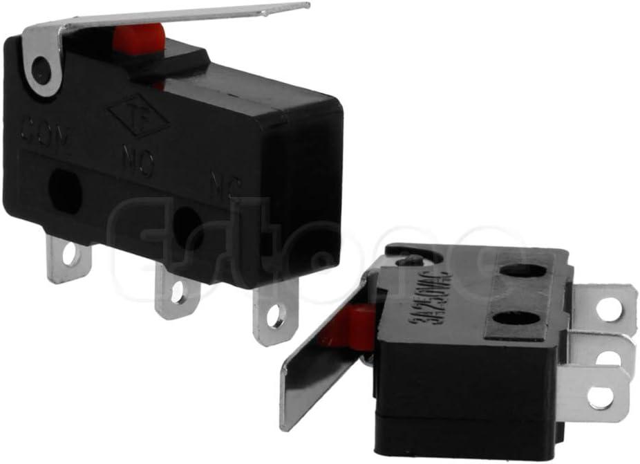 NO BIlinli /2 Pcs 3A AC C NC Interrupteur Limite De Capteur /À Rouleau Levier Bras Subminiature