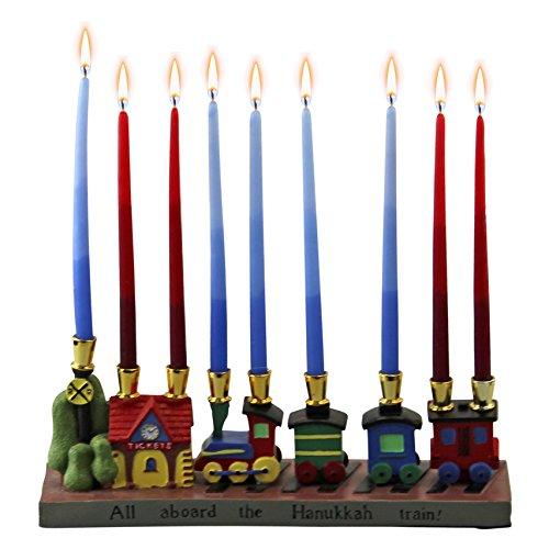 Charming Resin Railroad Chanukah Menorah Home Garden Decor Candle Holders Menorahs