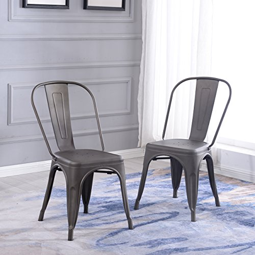 2 Side Metal (Belleze Indoor-Outdoor Bistro Dining Chair Stackable Highback Chic Cafe Side Chairs Set of (2), Bronze)