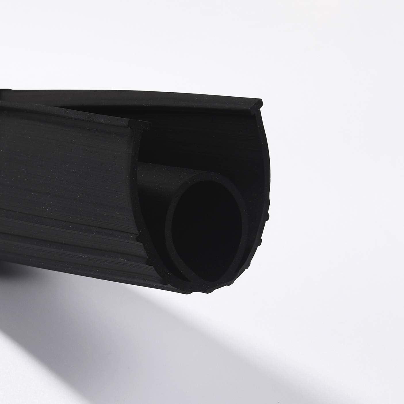 BOWSEN Garage Door Seals Bottom Rubber Weatherproof Threshold Buffering Replacement Black 1//4 Inch T-End,16ft Long
