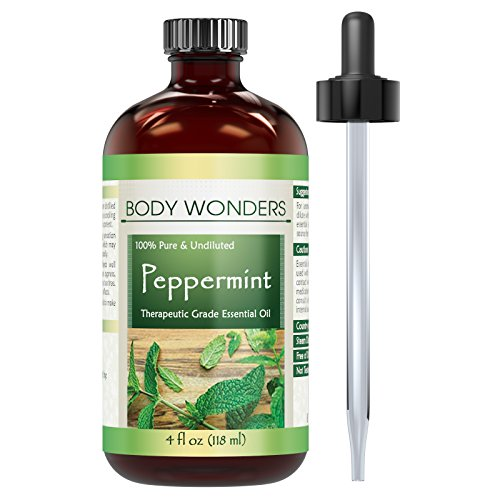 Body Wonders 100% Pure Peppermint Essential Oil (Mentha Piperita) 4 Fl Oz