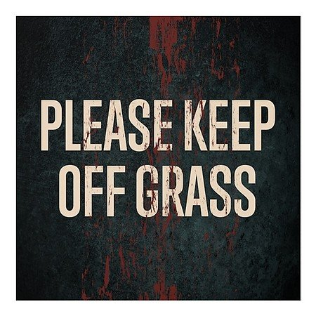 CGSignLab | ''Please Keep Off Grass -Ghost Aged Rust'' Repositionable Opaque White 1st Surface Static-Cling Non-Adhesive Window Decal (5-Pack) | 24''x24'' by CGSignLab